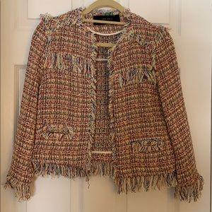 Zara multicolor tweed blazer with fringe